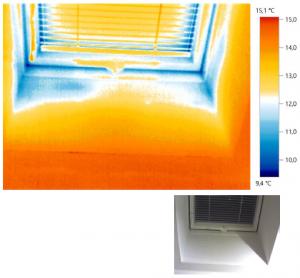Primer toplotnih izgub zaradi slabe montaže oken